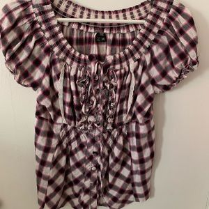 XOXO Plaid Baby Doll Shirt | Sz M | Blk/Pnk/Wht